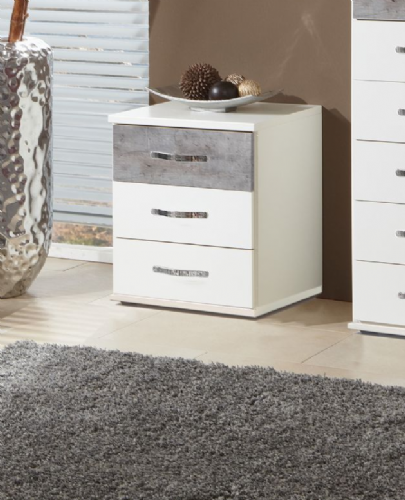 Ramina Concrete Grey And White 3 Drawer Bedside - 2662